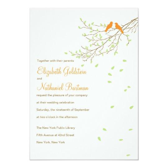 Love Birds Wedding Invitation in Orange and Green