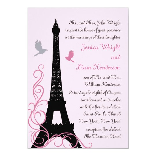 Love Birds Wedding Invitation (pink)