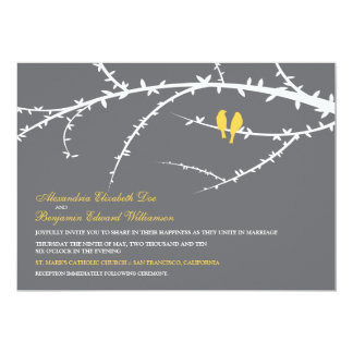 Love Birds Wedding Invitation (yellow)