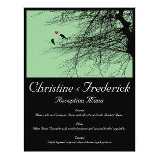 Love Birds, wedding menu and program flyers