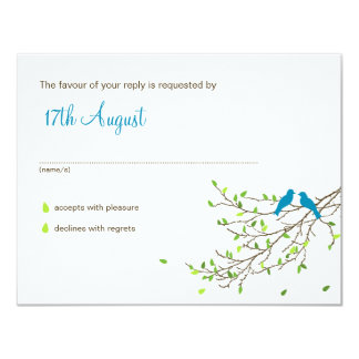 Love Birds Wedding RSVP Blue & Greens 11 Cm X 14 Cm Invitation Card