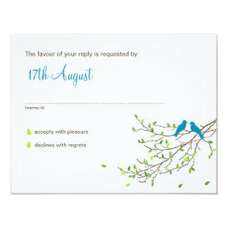 "Love Birds Wedding RSVP Blue & Greens 4.25"" X 5.5"" Invitation Card"
