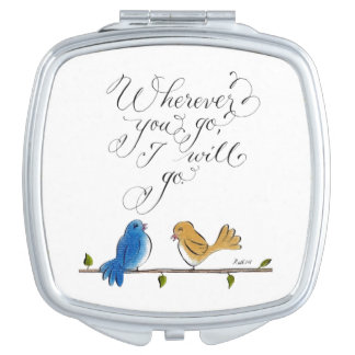 Love birds wherever you go cute typography compact mirrors