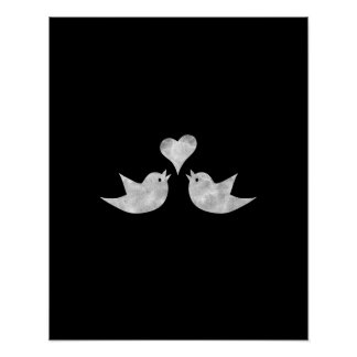 Love Birds with Heart Custom Color Poster