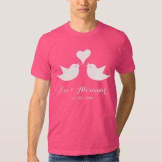 Love Birds with Heart Custom Text Shirts