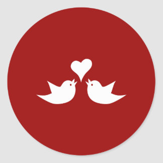 Love Birds with Heart Wedding Enagement Round Sticker