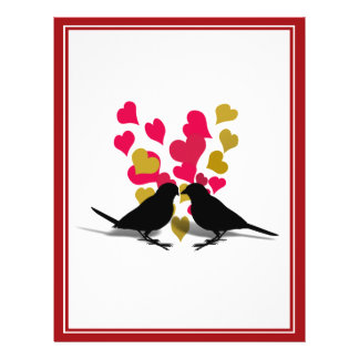 Love Birds With Red & Gold Hearts Custom Flyer