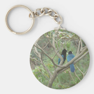 Love BIrdy Style, Tropical Black-Blue Jay Basic Round Button Key Ring