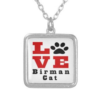 Love Birman Cat Designes Silver Plated Necklace