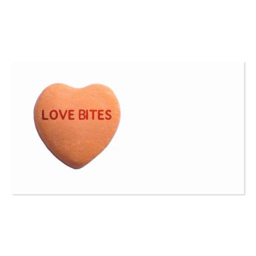 Love Bites Orange Candy Heart Business Card Template