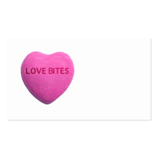 Love Bites Pink Candy Heart Business Card Template