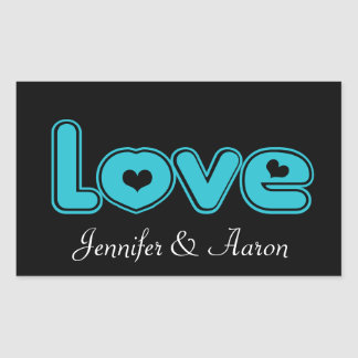 Love Black and Blue Turquoise Heart Wedding Party Rectangular Sticker