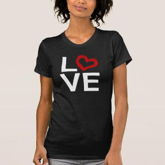 LOVE, Black and White with Red Sketched Heart T-Shirt