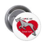 Love Black Great Dane Pin