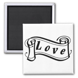 Love black knows scroll square magnet