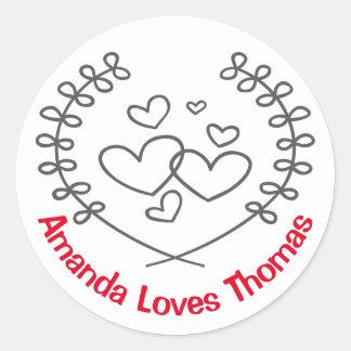 Love Black Laurel Wreath Hearts Red Personalized Round Sticker