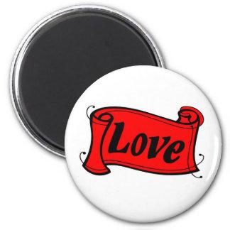 Love black red writing volume 6 cm round magnet