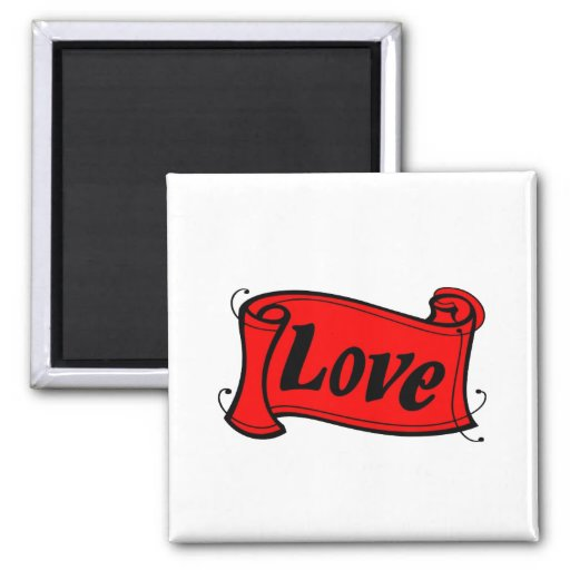 Love black red writing volume fridge magnets