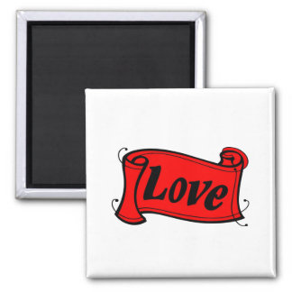 Love black red writing volume square magnet