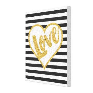 Love Black & White Gold Glitter Stripes Canvas Print