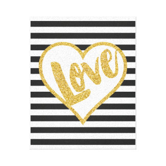 Love Black & White Gold Glitter Stripes Canvas Print