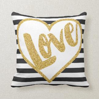 Love Black & White Gold Glitter Stripes Cushion