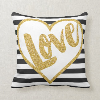 Love Black & White Gold Glitter Stripes Throw Pillow