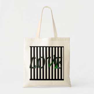 Love,black & white stripes budget tote bag
