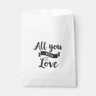 Love Black & White Wedding Party Favor Typography Favour Bags