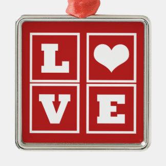 Love Blocks Premium Ornament, Dark Red Silver-Colored Square Decoration