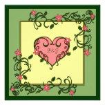 Love Blooms Green Wedding Invitations