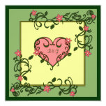 Love Blooms Green Wedding Invitations
