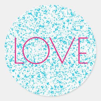 Love Blue Dalmatian Print Stickers