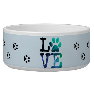 Love, Blue Paw Prints Dog or Cat Food Bowl