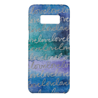 Love Blue Purple Silver Abstract Modern Watercolor Case-Mate Samsung Galaxy S8 Case