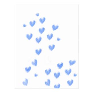 LOVE - Blue watercolour hearts design Postcard