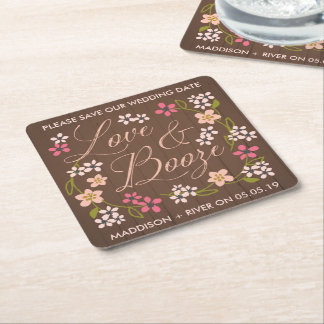 Love & Booze Save the Date Coasters