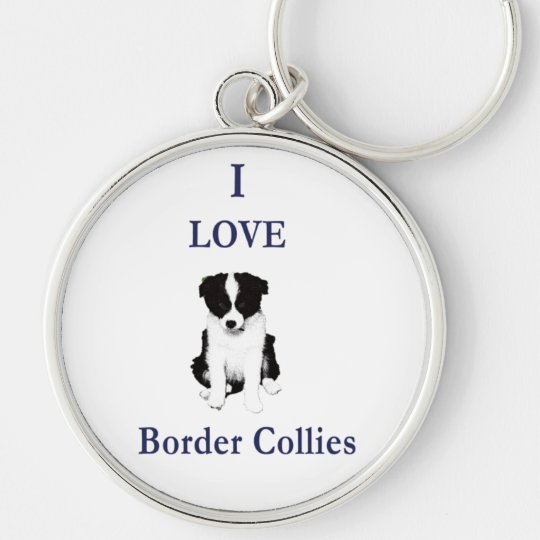 Love Border Collies Silver-Colored Round Key Ring