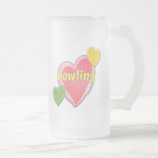 Love Bowling Hearts Frosted Glass Mug