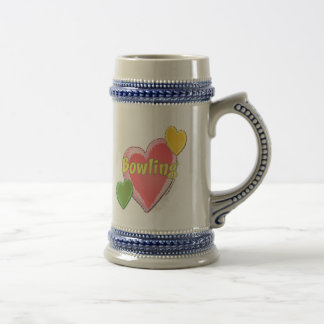 Love Bowling Hearts Beer Steins