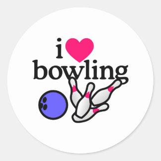 Love Bowling Round Sticker