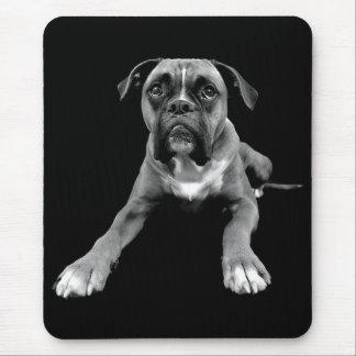 Love Boxer Puppy Dog Black Mousepad