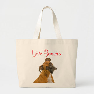Love Boxer Puppy Dog Canvas Tote Bag