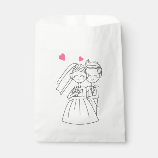 Love Bride And Groom Cartoon Pink Heart Wedding Favour Bags