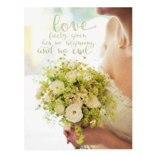 Love Bride Flowers Wedding Postcard
