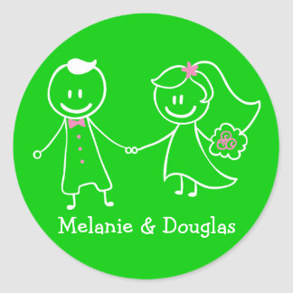 Love Bride & Groom Green Personalized Wedding Round Sticker