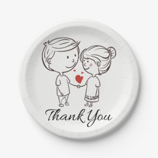 Love Bride, Groom Thank You Black White Wedding Paper Plate