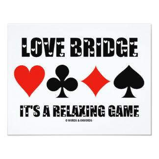 Love Bridge It's A Relaxing Game (Four Card Suits) 11 Cm X 14 Cm Invitation Card
