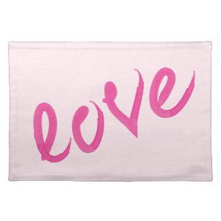 Love - Bright Pink Handwritten Watercolor Script Placemat