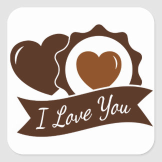 Love Brown And White Chocolate Hearts - Wedding Square Sticker